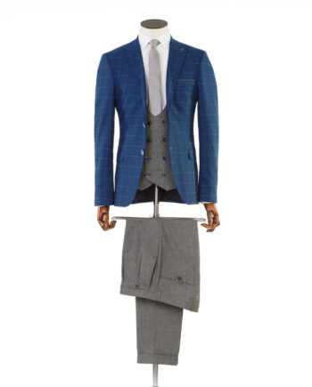 Maradona Navy Tweed Tan Check 3 piece suit