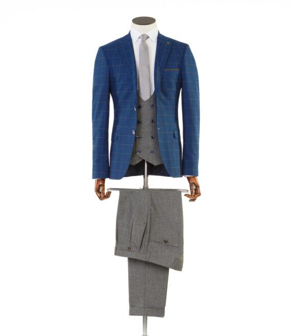 Maradona Navy Tweed Tan Check 3 piece suit