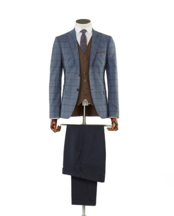 Pele Blue Tan Check Tweed 3 piece suit
