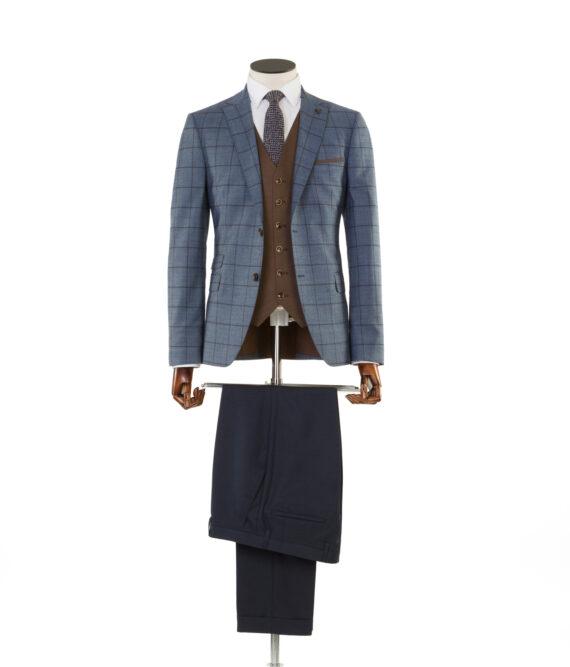 Pele Blue Tan Check Tweed 3 piece suit