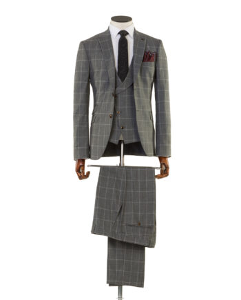 Zidane Grey Check Tweed 3 piece suit