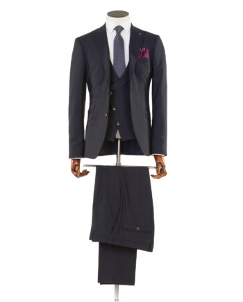 Zidane Navy Checked Tweed 3 piece suit