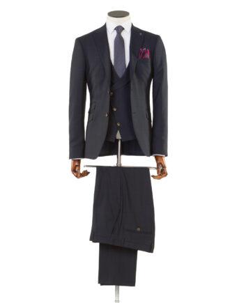Zidane Navy Checked Tweed 3 piece suit