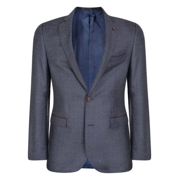 Blue & BurgundyBlue & Burgundy Houndstooth 3 Piece Twist Suit
