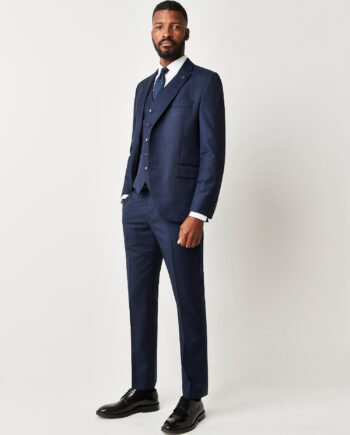 Navy Blue Check 3 Piece Suit