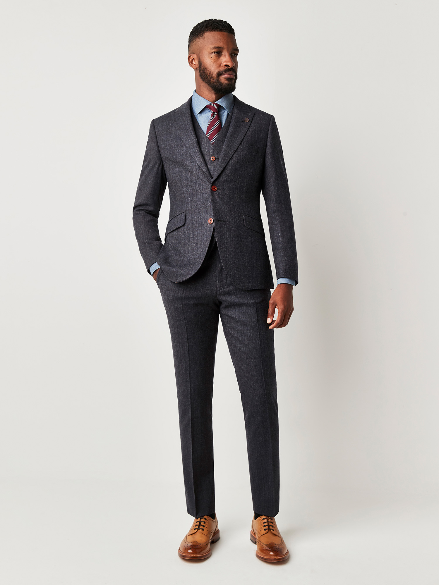 Charcoal Textured 3 Piece Suit