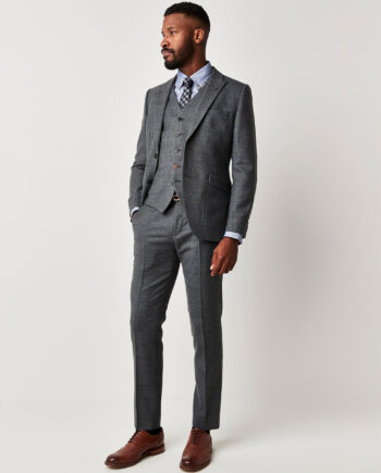 Blue Textured 3 Piece Suit