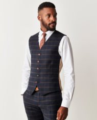 Navy and Coffee Check 3 Piece Suit