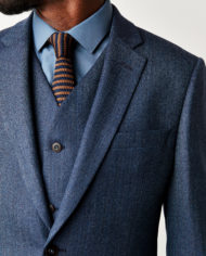 Blue Herringbone 3 Piece Suit