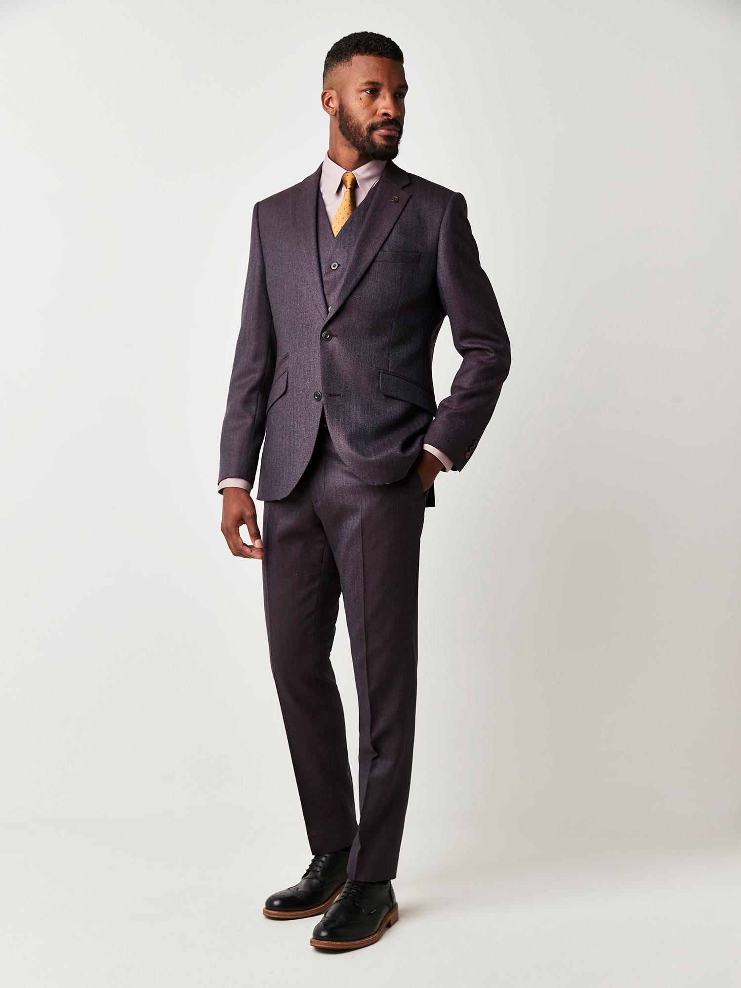 Burgundy Herringbone 3 Piece Suit