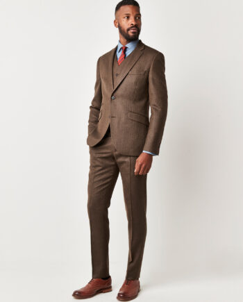Coffee Herringbone 3 Piece Suit