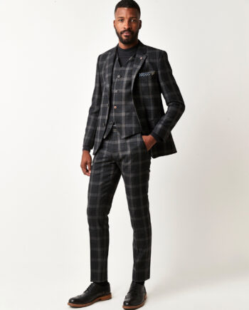 Charcoal Tartan Check 3 Piece Suit
