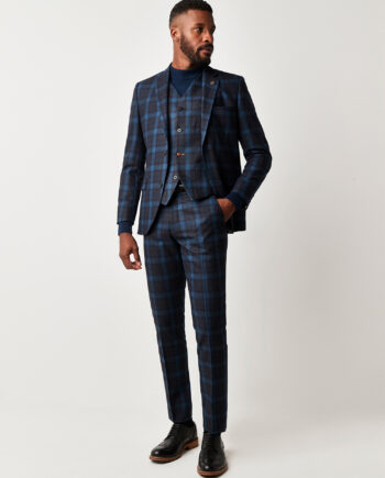 Teal Tartan Check 3 Piece Suit