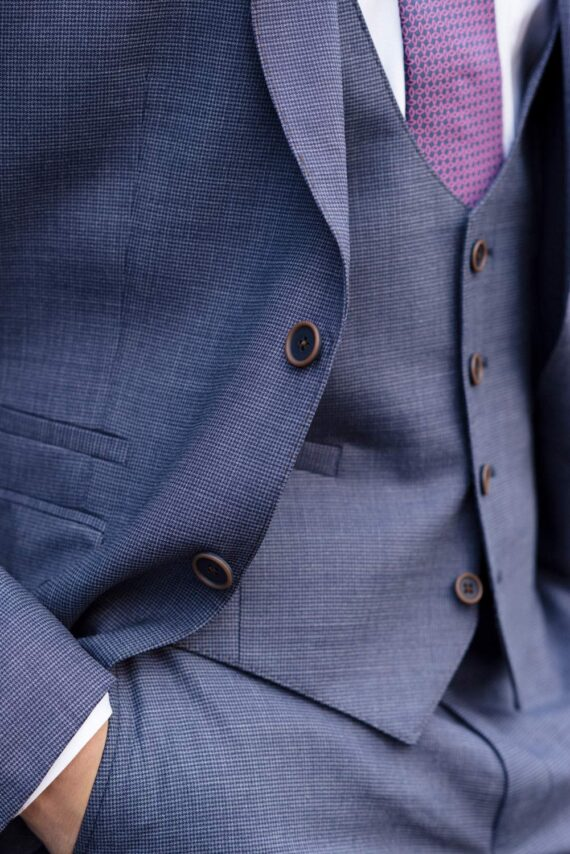 Steel Blue Magee Tweed 3 Piece Suit