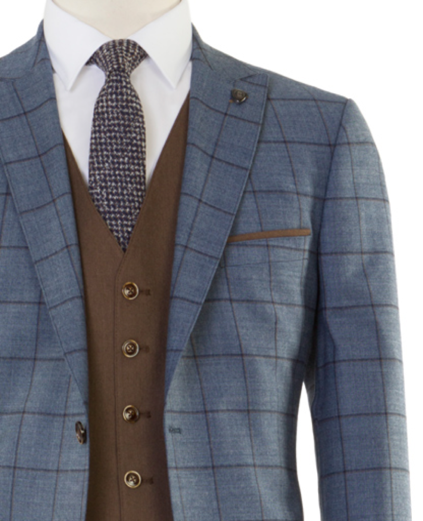 5c588be839ca Have a look at our Edison Blue Tan Check Tweed 3 Piece suit.