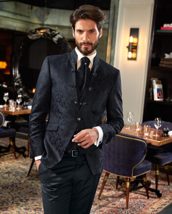 Black Brocade 3 Piece Wedding Suit