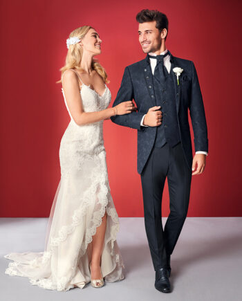Blue Baroque 3 Piece Wedding Suit