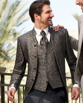 Brown Floral Pattern Wedding Suit