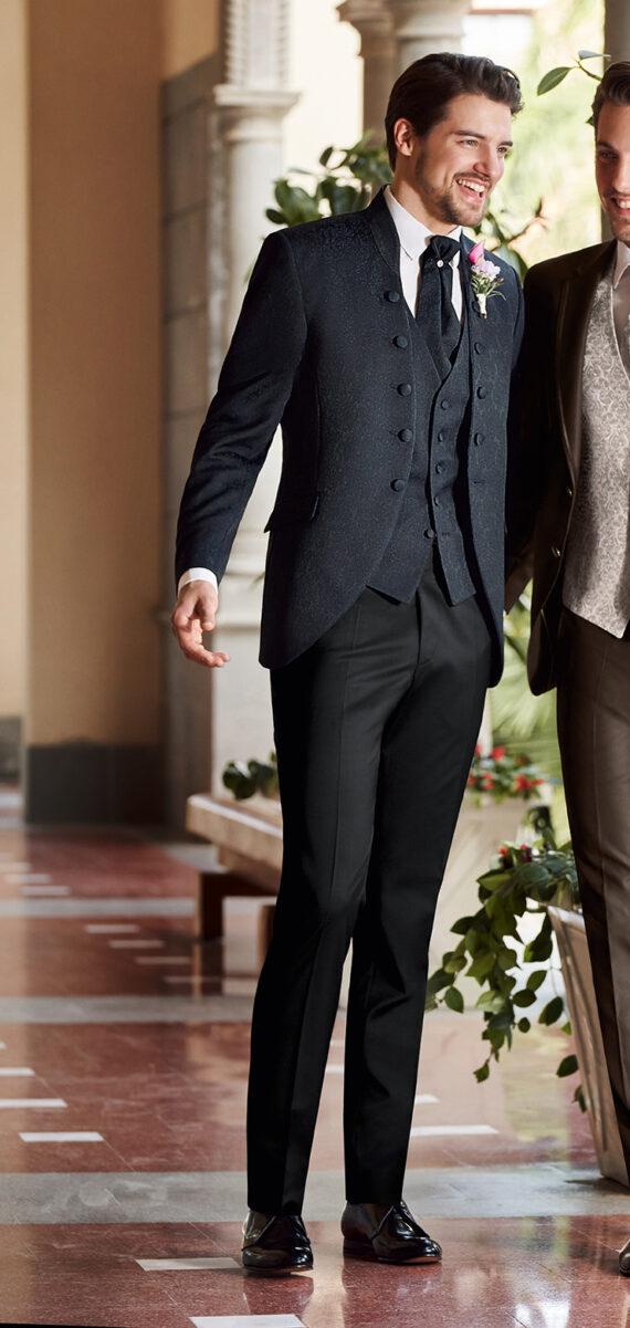 Dark Blue Patterned Suit