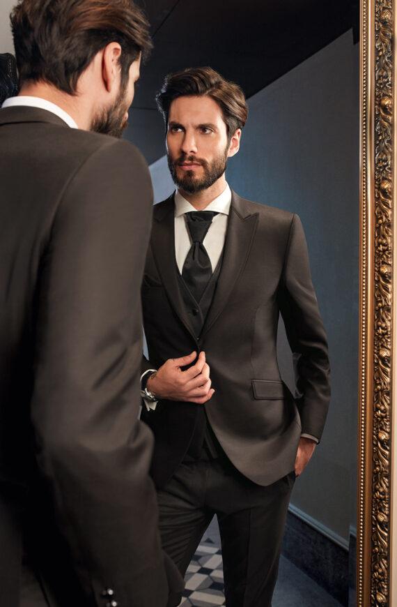 Elegant Brown 3 Piece Wedding Suit