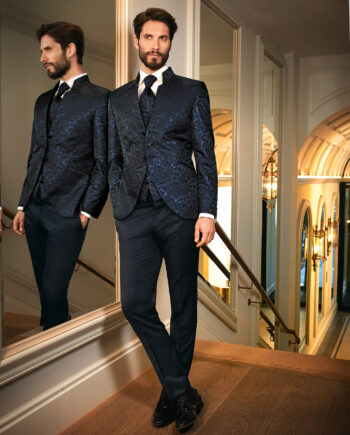 Midnight Blue Brocade 3 Piece Wedding Suit