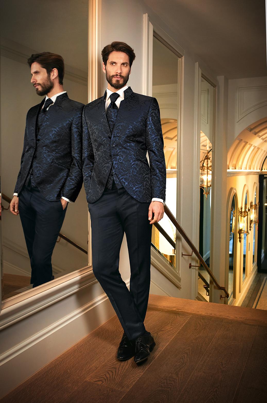 Midnight Blue Brocade 3 Piece Wedding Suit