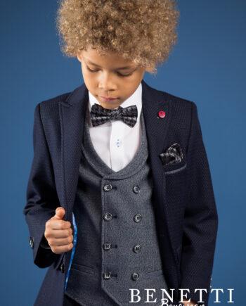 Phillip Navy Tweed 3 Piece Boys Suit