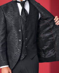 Royal Black Patterned Wedding Suit