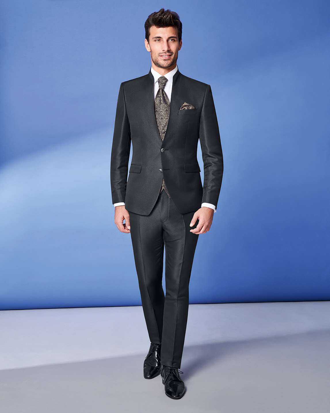 Satin Black 3 Piece Wedding Suit