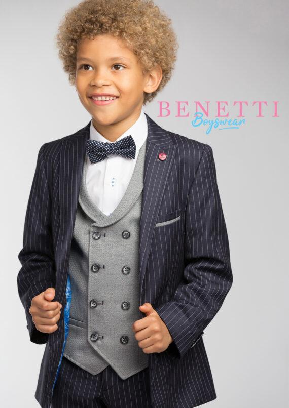 Simon Navy Pinstripe Tweed 3 Piece Boys Suit