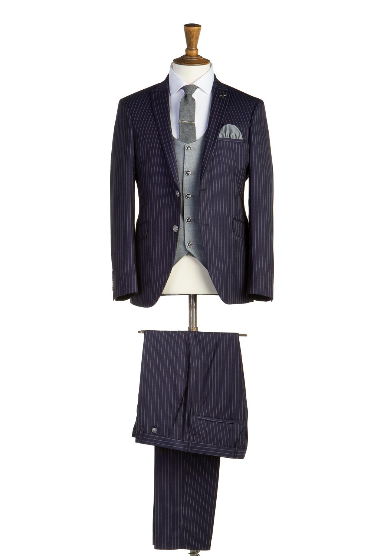 Barker Navy Pinstripe 3 Piece Suit