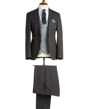 Bentley Charcoal Grey Tweed 3 Piece Suit