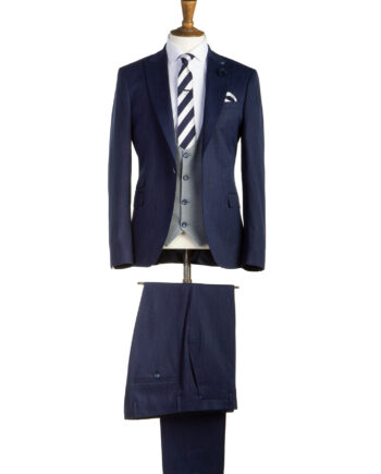 Bond Navy Tweed 3 Piece Suit