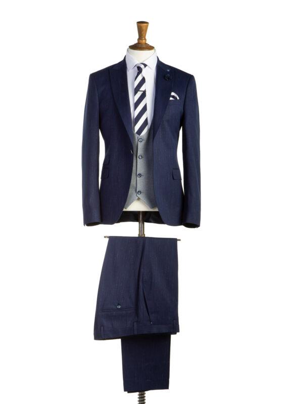 Bond Navy Tweed 3 Piece Suit