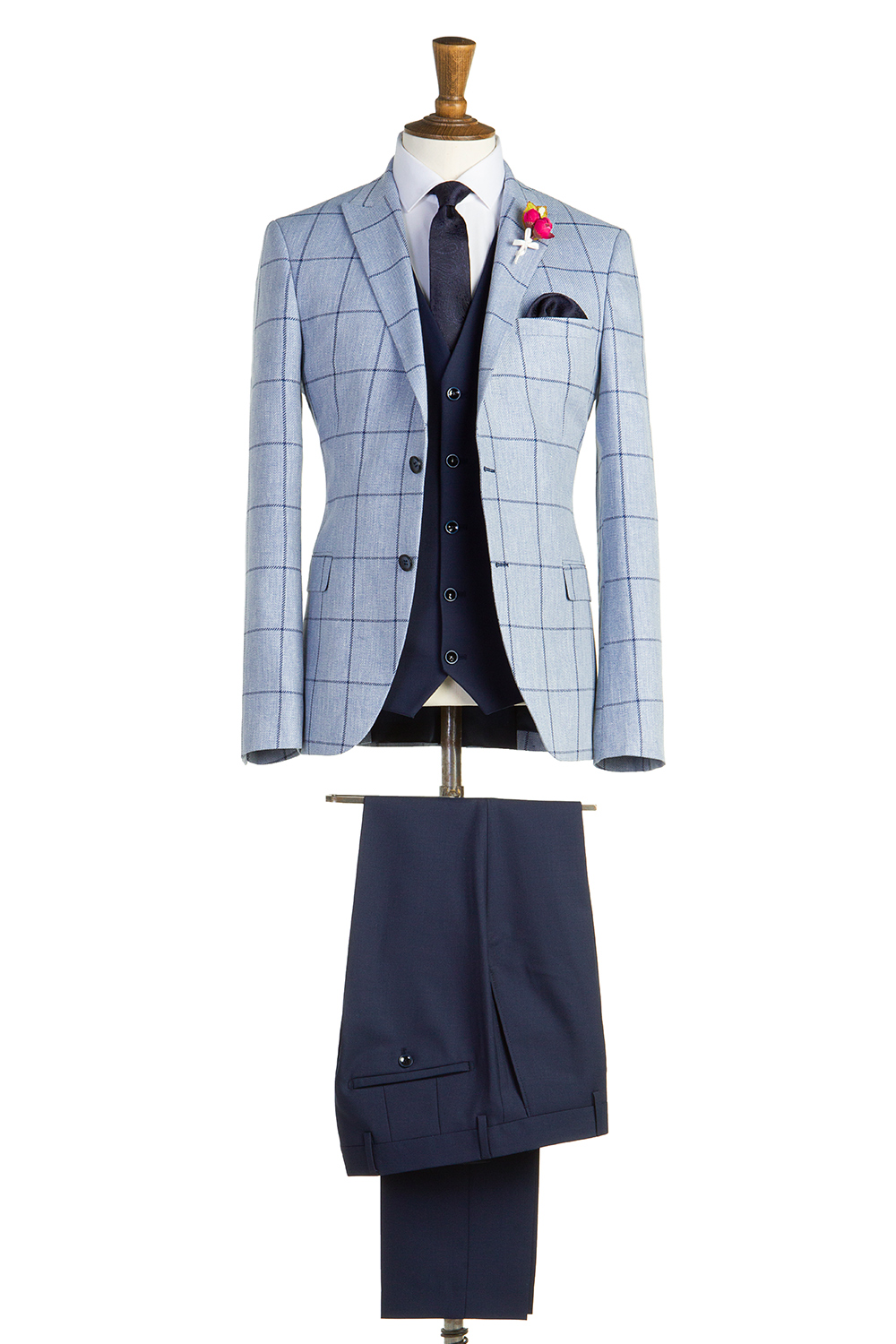 Pale Blue Navy Check Suit