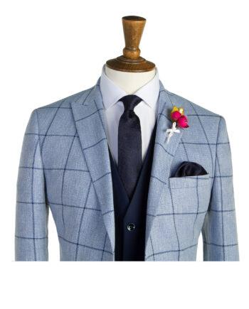 Pale Blue Navy Check Suit