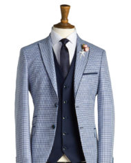 Gieves Pale Blue Check Tweed Suit