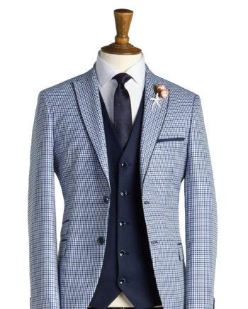 Gieves Pale Blue Check Tweed Suit
