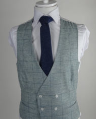 Grey Check Tweed Double Breasted Waistcoat