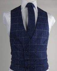 Navy Check Tweed Double Breasted Waistcoat