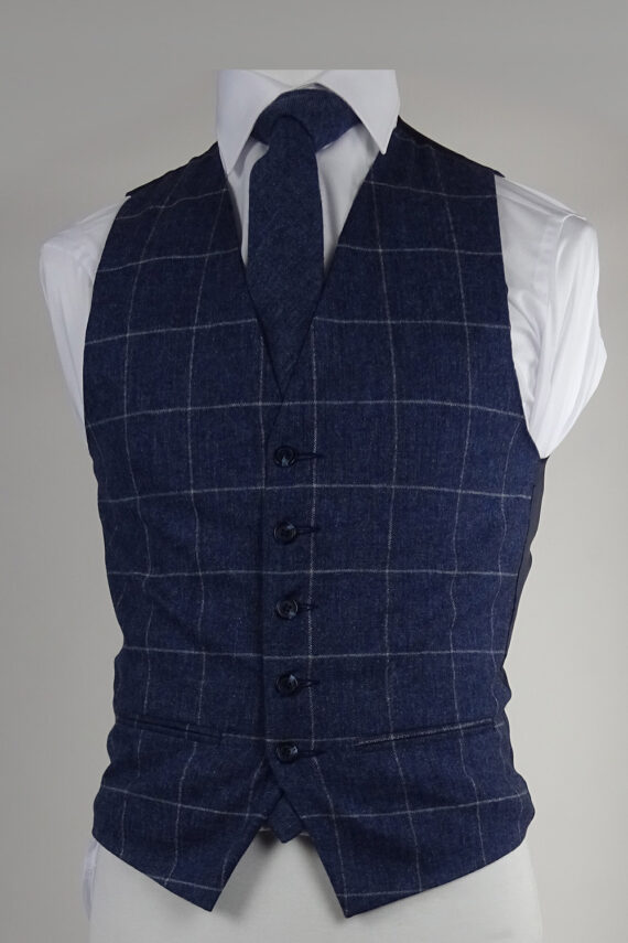 Navy Check Tweed Waistcoat