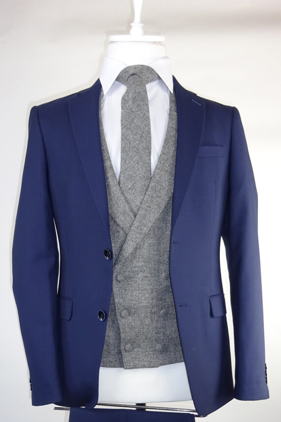 Navy suit grey double breasted tweed waistcoat