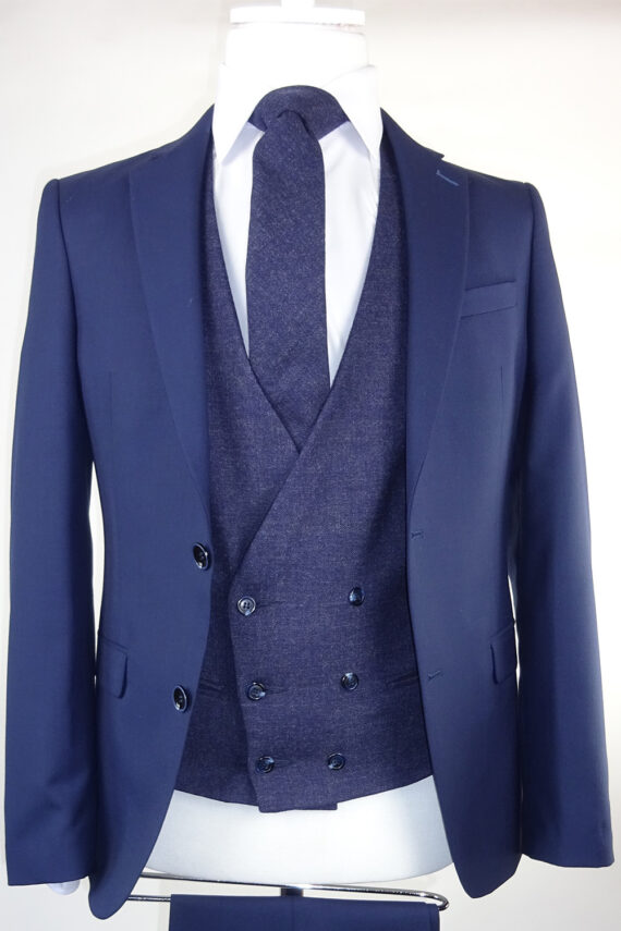 Navy Suit Midnight Lambswool Double breasted Waistcoat