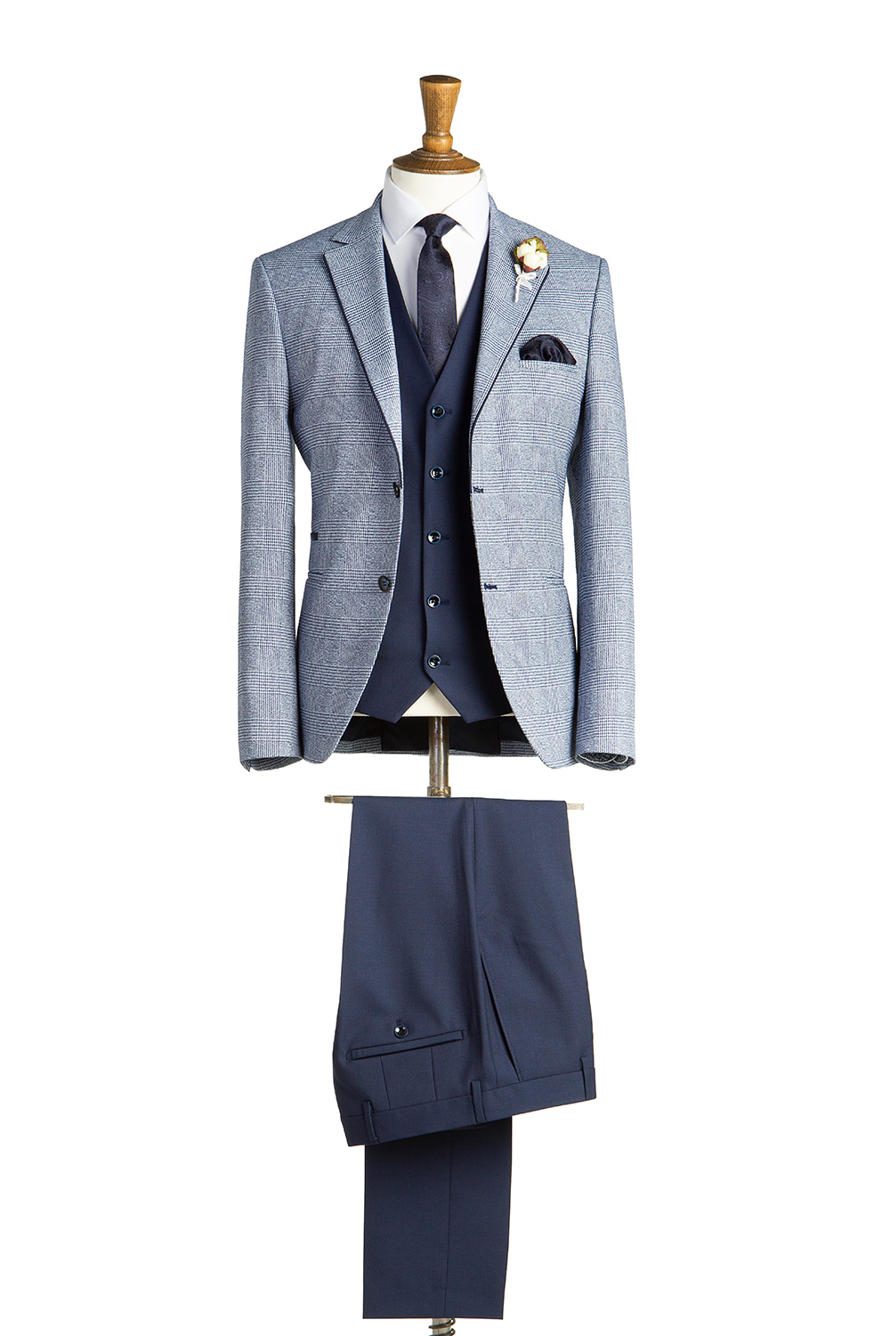 Ruxton Pale Blue Check Tweed Suit