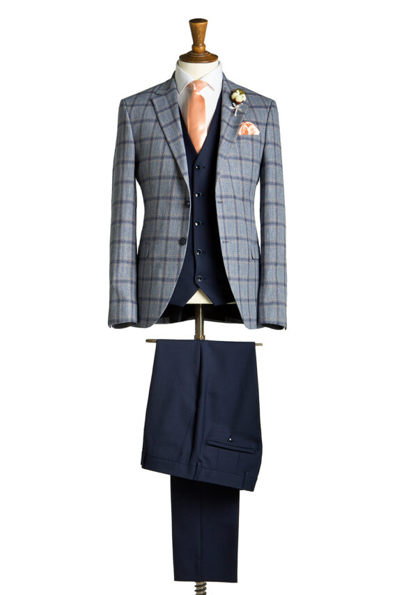 Tompson Pale Blue Windowpane Check Suit