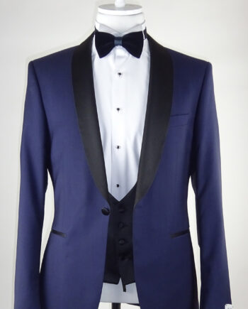Blue Wedding Tuxedo Curved Lapel