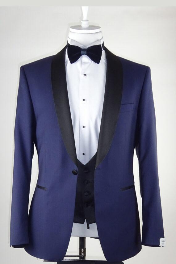 Blue Wedding Tuxedo Curved Lapel