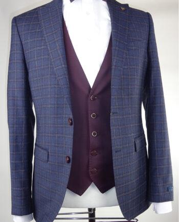 Burgundy check suit Burgundy Single-breasted waistcoat