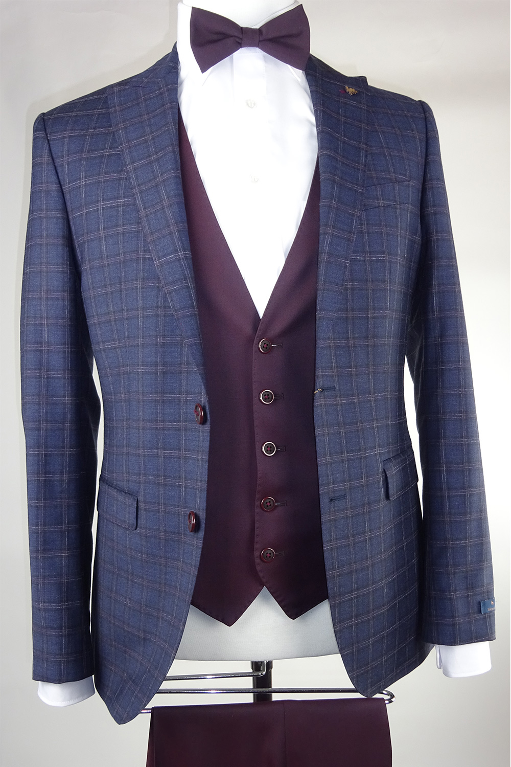 Burgundy check suit Burgundy Single-breasted waistcoat