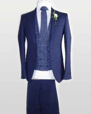 Navy Suit Blue Check Double breasted Waistcoat